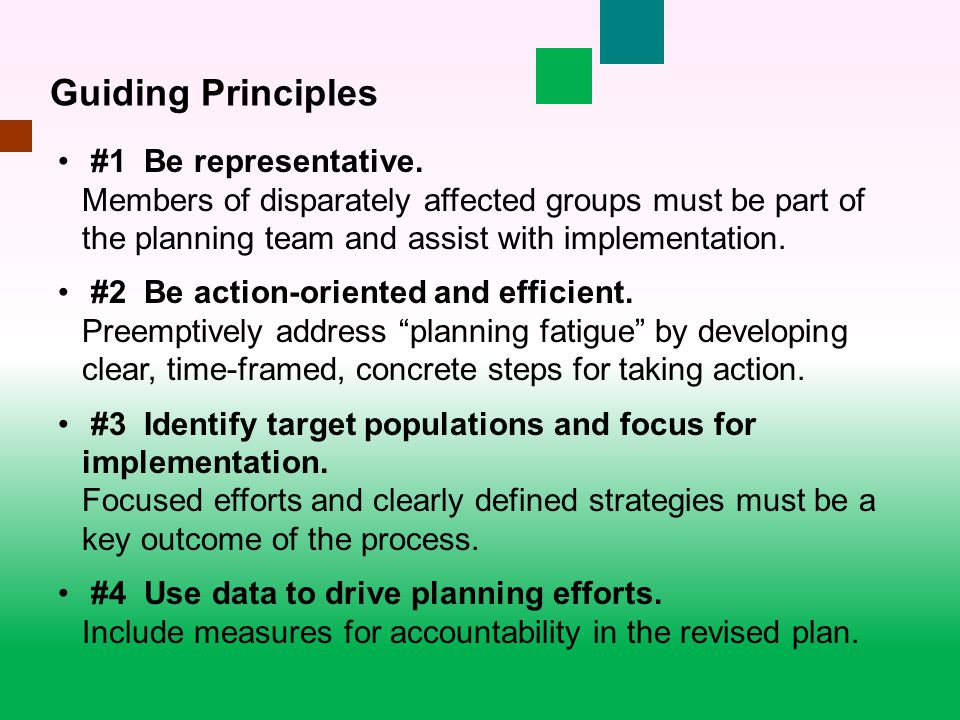 #1 Be representative. Members of disparately affected groups must be part of the planning team and assist with implementation. #2 Be action-oriented a
