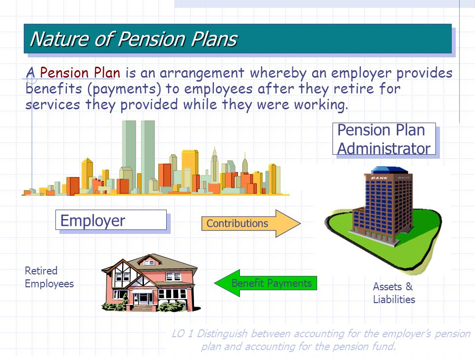 A Pension Plan is an arrangement whereby an employer provides benefits (payments) to employees after they retire for services they provided while they