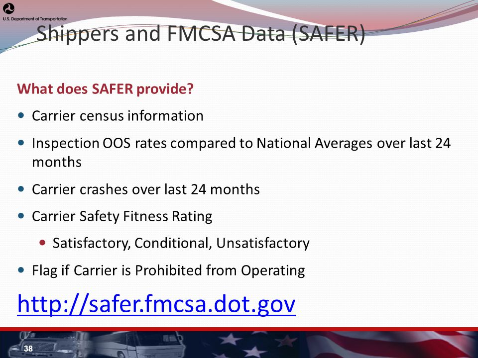 Shippers and FMCSA Data (SAFER) What does SAFER provide.