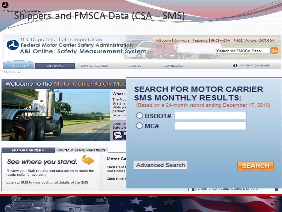 47 Shippers and FMSCA Data (CSA – SMS)