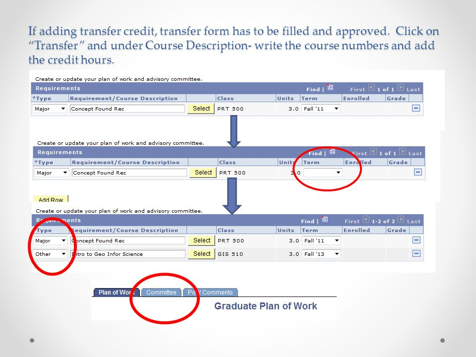 If adding transfer credit, transfer form has to be filled and approved.