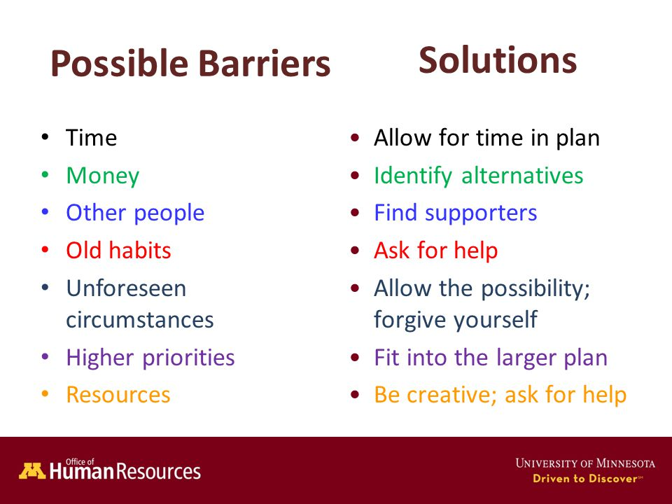Human Resources Office of Possible Barriers Time Money Other people Old habits Unforeseen circumstances Higher priorities Resources Allow for time in plan Identify alternatives Find supporters Ask for help Allow the possibility; forgive yourself Fit into the larger plan Be creative; ask for help Solutions