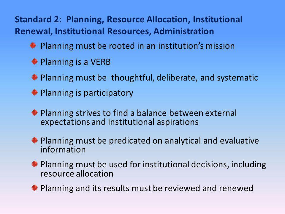 Standard 2: Planning, Resource Allocation, Institutional Renewal, Institutional Resources, Administration Planning must be rooted in an institutions mission Planning is a VERB Planning must be thoughtful, deliberate, and systematic Planning is participatory Planning strives to find a balance between external expectations and institutional aspirations Planning must be predicated on analytical and evaluative information Planning must be used for institutional decisions, including resource allocation Planning and its results must be reviewed and renewed