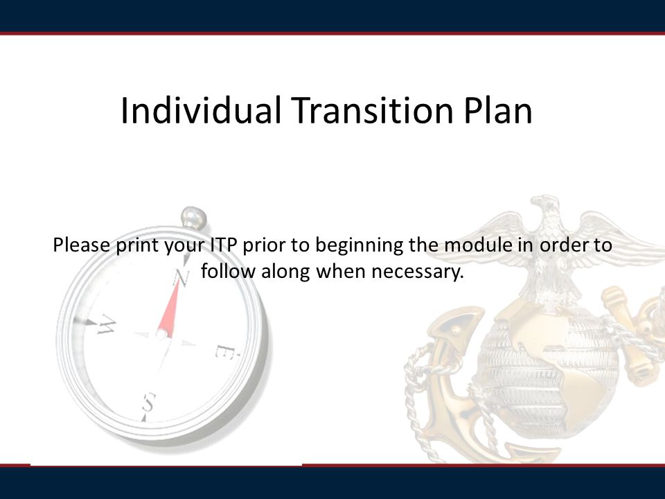 Individual Transition Plan Please print your ITP prior to beginning the module in order to follow along when necessary.