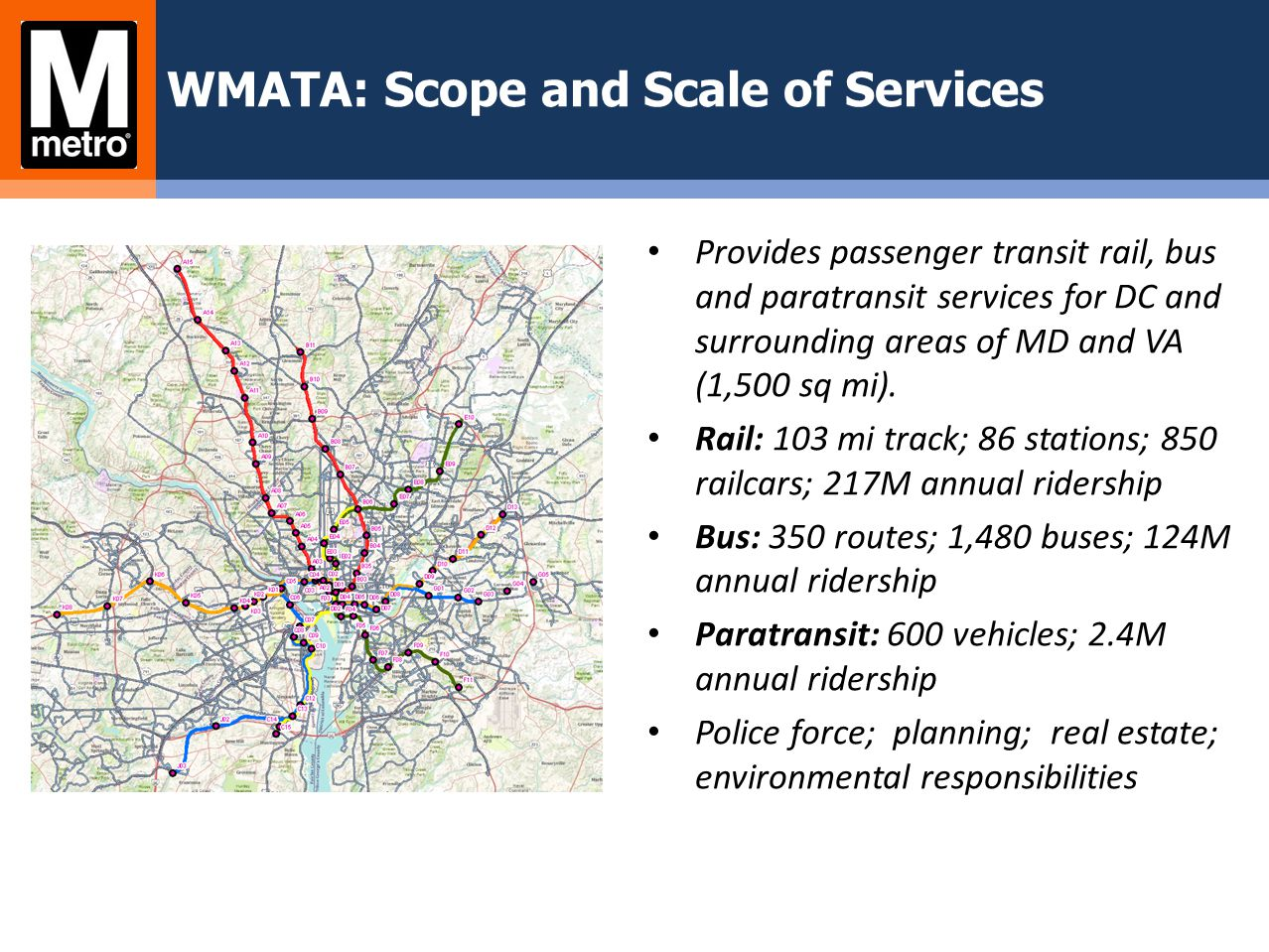 WMATA: Scope and Scale of Services Provides passenger transit rail, bus and paratransit services for DC and surrounding areas of MD and VA (1,500 sq m