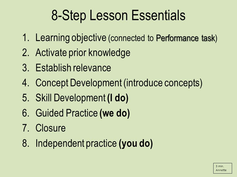 8-Step Lesson Essentials Performance task 1.Learning objective (connected to Performance task) 2.Activate prior knowledge 3.Establish relevance 4.Concept Development (introduce concepts) 5.Skill Development (I do) 6.Guided Practice (we do) 7.Closure 8.Independent practice (you do) 3 min.
