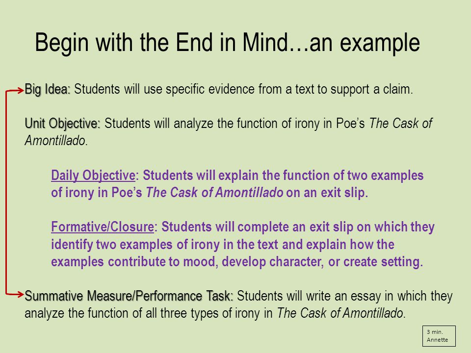 Begin with the End in Mind…an example Big Idea: Big Idea: Students will use specific evidence from a text to support a claim.