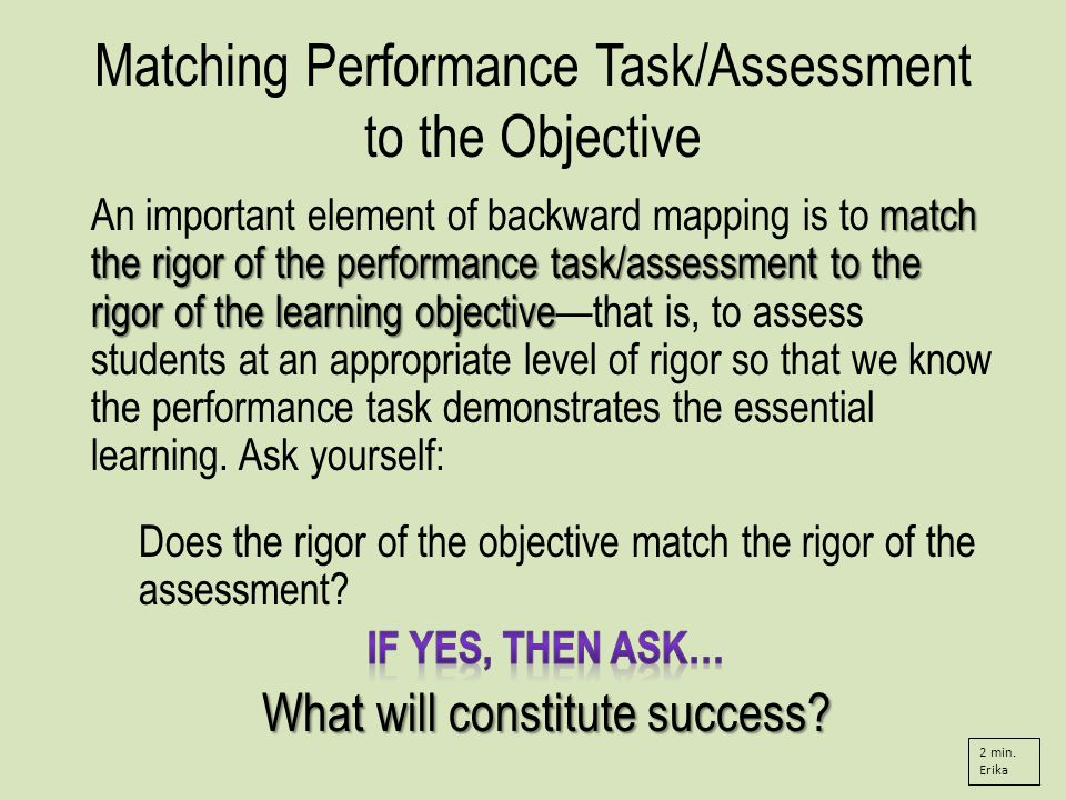 Matching Performance Task/Assessment to the Objective 2 min. Erika