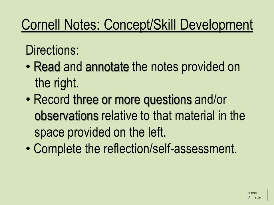 Cornell Notes: Concept/Skill Development Directions: Readannotate Read and annotate the notes provided on the right.