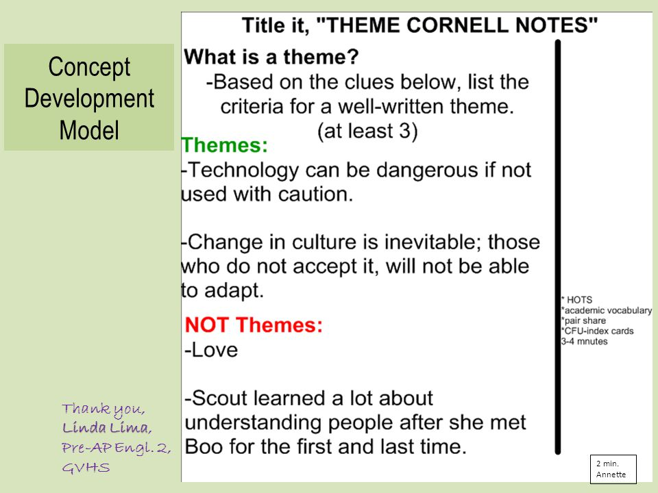 Concept Development Model Thank you, Linda Lima Linda Lima, Pre-AP Engl. 2, GVHS 2 min. Annette