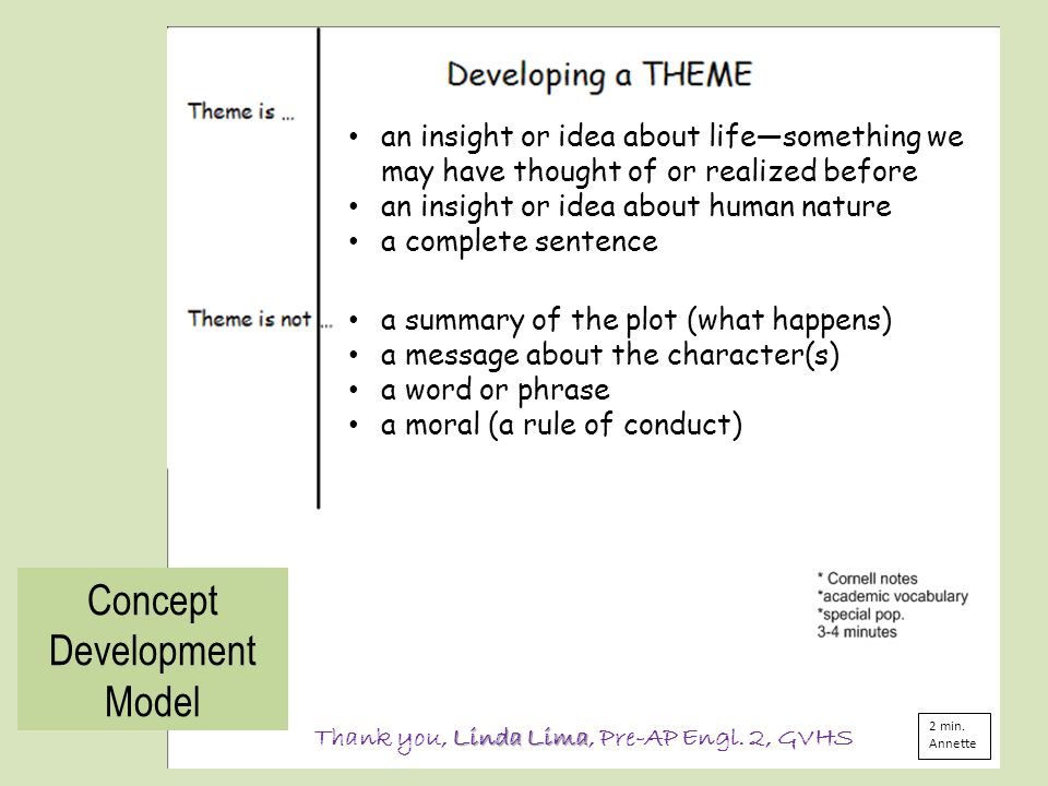 Concept Development Model Linda Lima Thank you, Linda Lima, Pre-AP Engl.