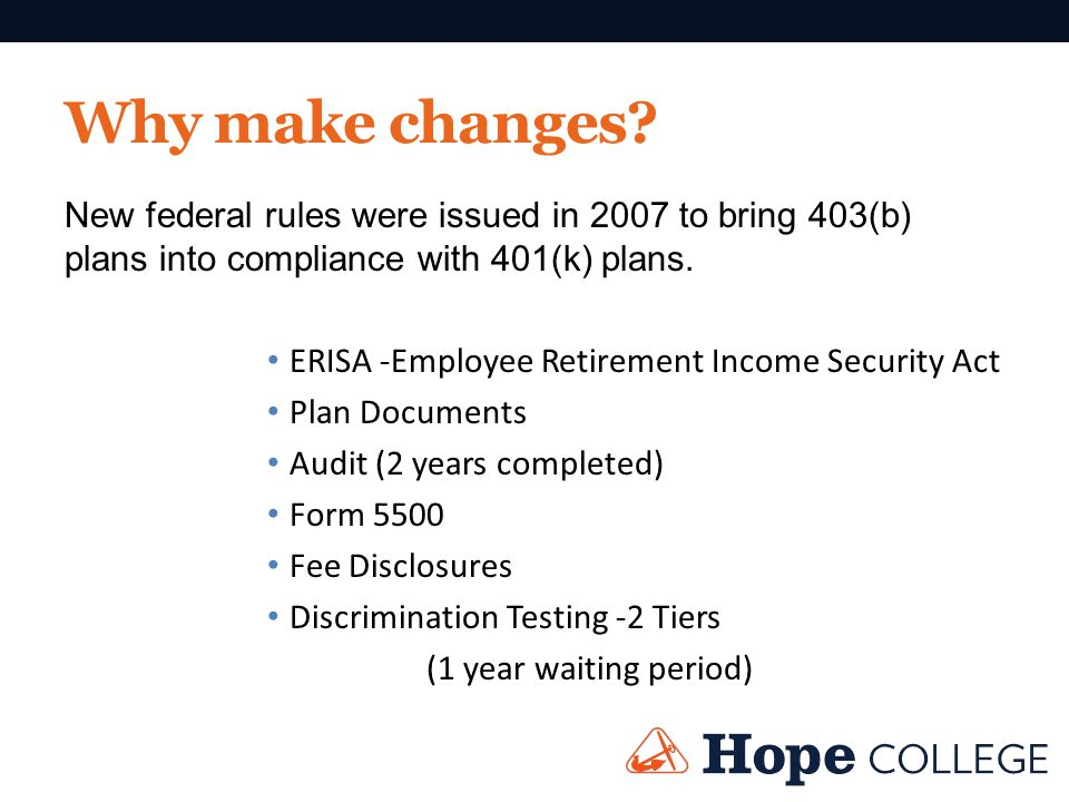 Why make changes? New federal rules were issued in 2007 to bring 403(b) plans into compliance with 401(k) plans. ERISA -Employee Retirement Income Sec