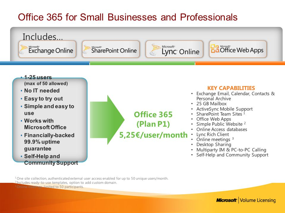 Office 365 for Small Businesses and Professionals Includes… Exchange Email, Calendar, Contacts & Personal Archive 25 GB Mailbox ActiveSync Mobile Supp