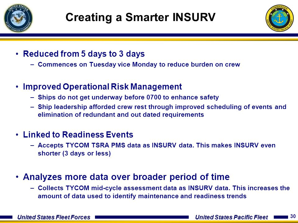 30 United States Fleet Forces United States Pacific Fleet Creating a Smarter INSURV Reduced from 5 days to 3 days –Commences on Tuesday vice Monday to
