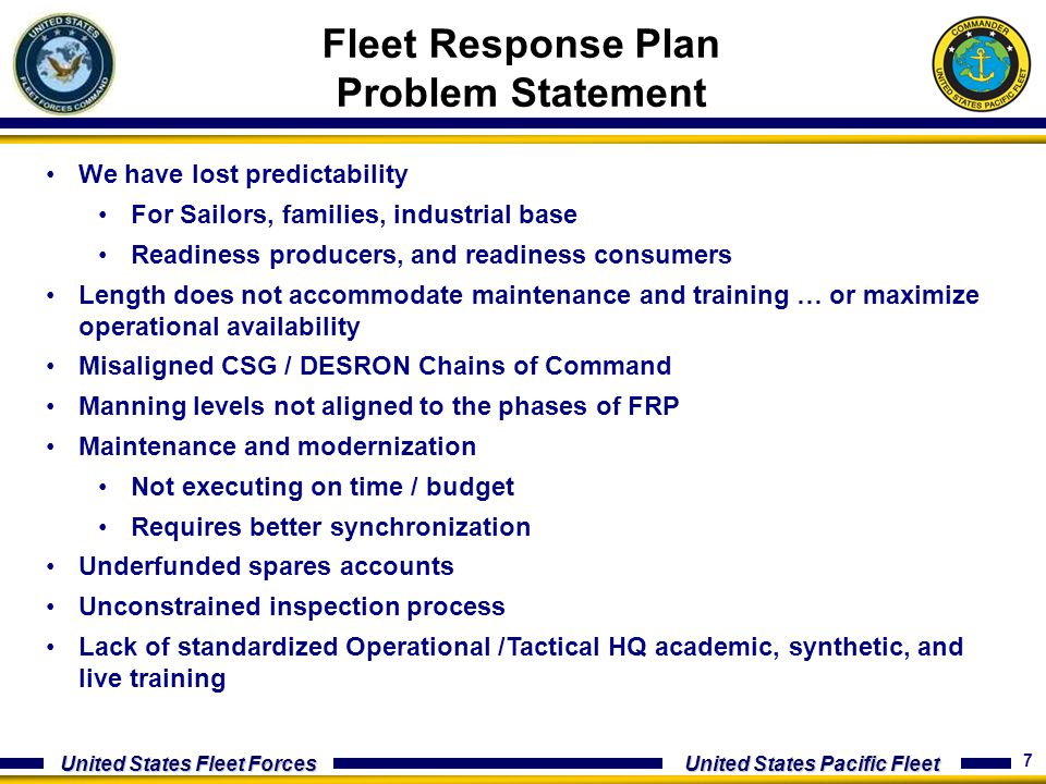 7 United States Fleet Forces United States Pacific Fleet Fleet Response Plan Problem Statement We have lost predictability For Sailors, families, indu