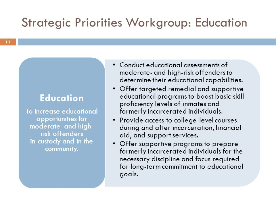Strategic Priorities Workgroup: Education Conduct educational assessments of moderate- and high-risk offenders to determine their educational capabilities.