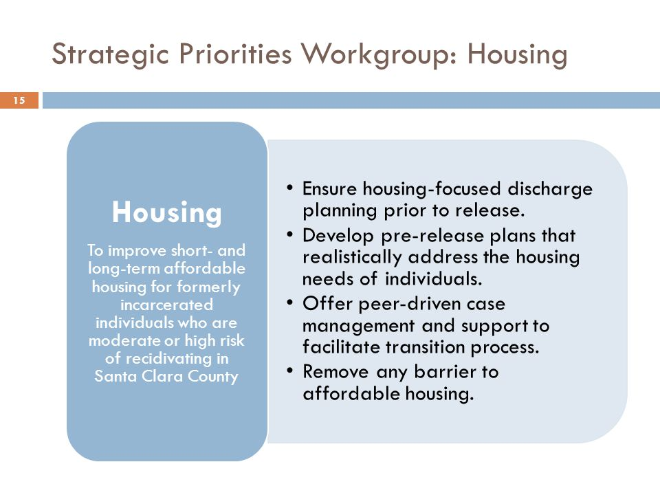 Strategic Priorities Workgroup: Housing Ensure housing-focused discharge planning prior to release.