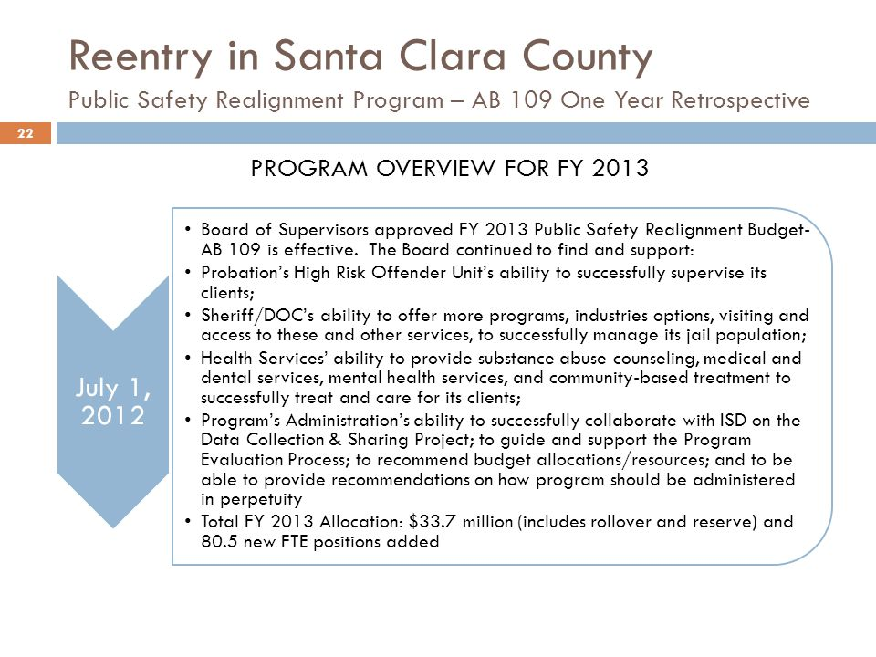 Reentry in Santa Clara County Public Safety Realignment Program – AB 109 One Year Retrospective PROGRAM OVERVIEW FOR FY 2013 July 1, 2012 Board of Supervisors approved FY 2013 Public Safety Realignment Budget- AB 109 is effective.