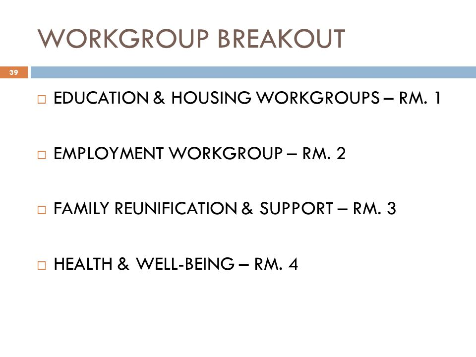 WORKGROUP BREAKOUT 39 EDUCATION & HOUSING WORKGROUPS – RM.