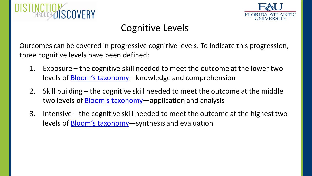 Cognitive Levels Outcomes can be covered in progressive cognitive levels.