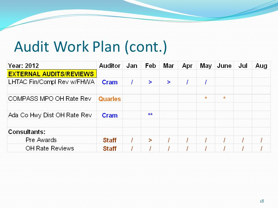 Audit Work Plan (cont.) 19