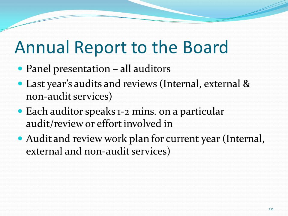 Annual Report to the Board Panel presentation – all auditors Last years audits and reviews (Internal, external & non-audit services) Each auditor spea