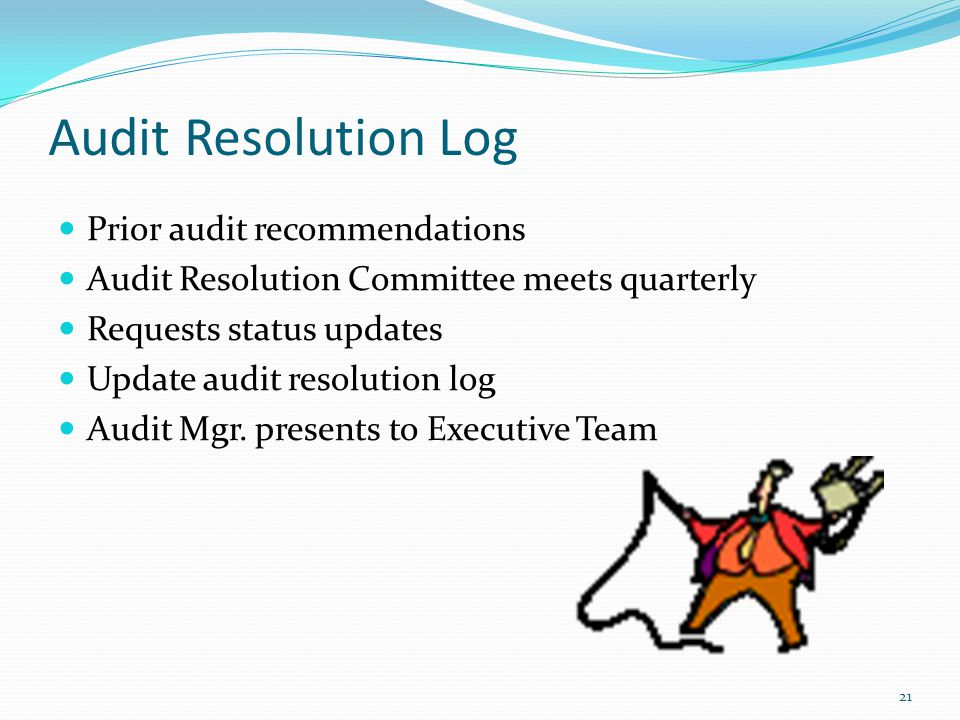 Summary Risk Assessment Process Audit Work Plan Audit Resolution Follow Up 22