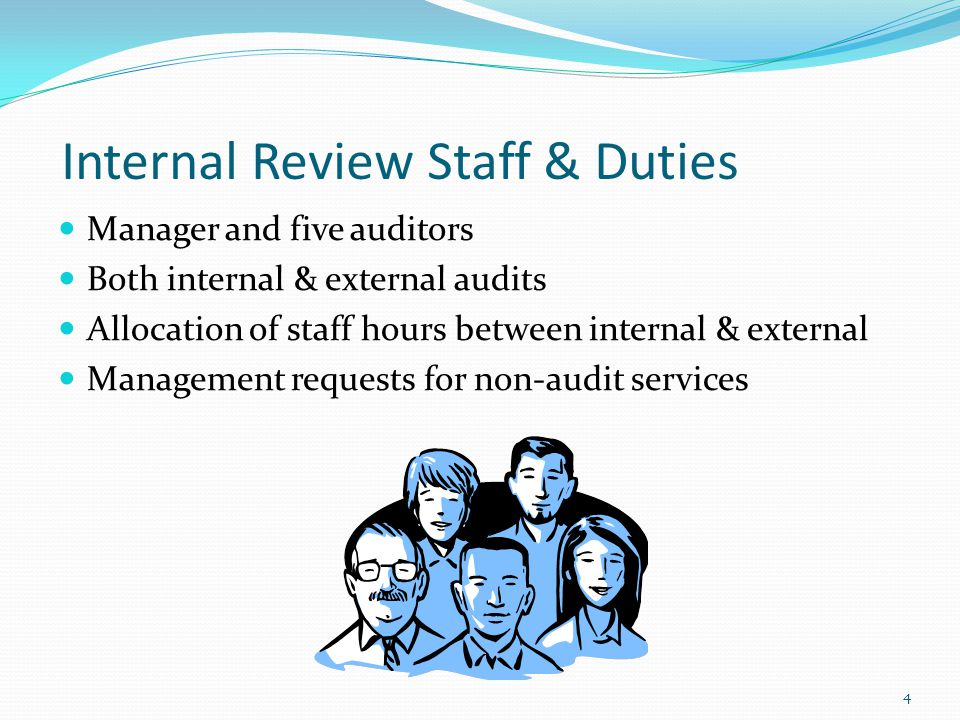 Internal Review Staff & Duties Manager and five auditors Both internal & external audits Allocation of staff hours between internal & external Managem