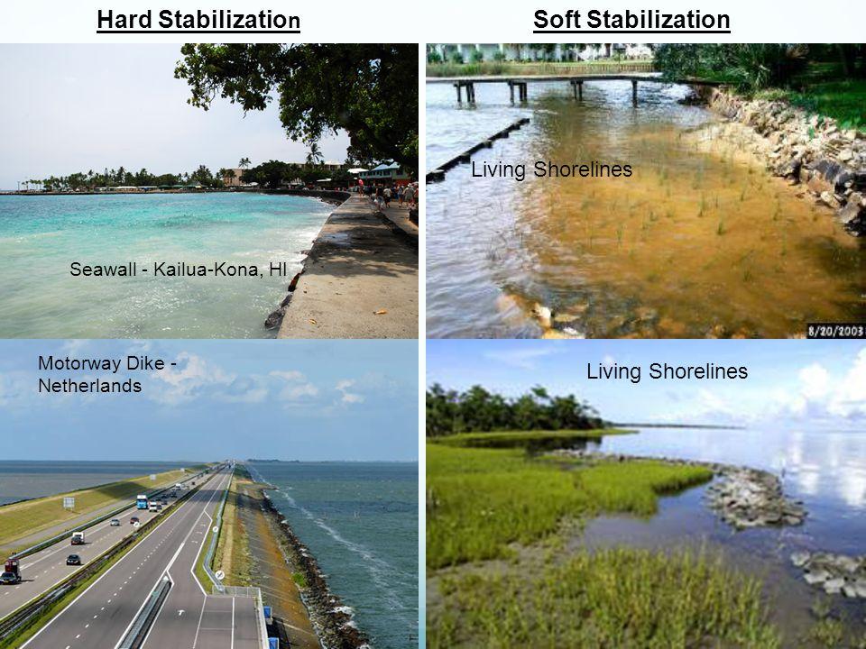 Seawall - Kailua-Kona, HI Motorway Dike - Netherlands Living Shorelines Hard Stabilizatio n Living Shorelines Soft Stabilization