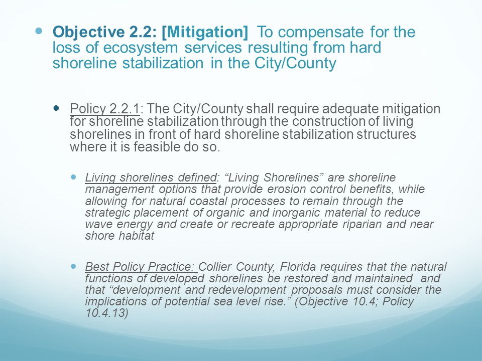 Objective 2.2: [Mitigation] To compensate for the loss of ecosystem services resulting from hard shoreline stabilization in the City/County Policy 2.2