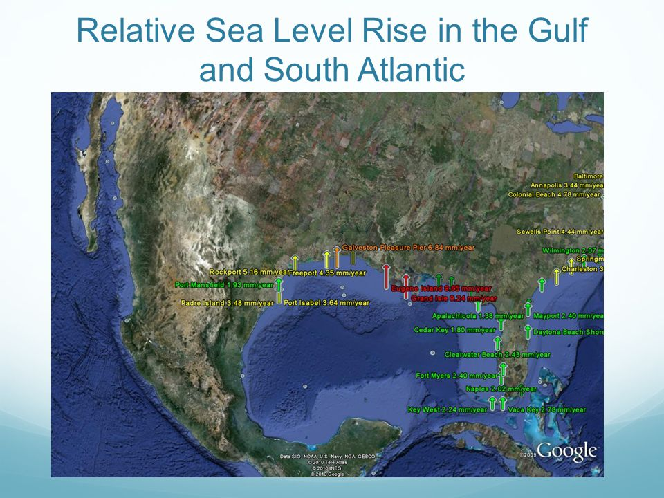 Relative Sea Level Rise in the Gulf and South Atlantic
