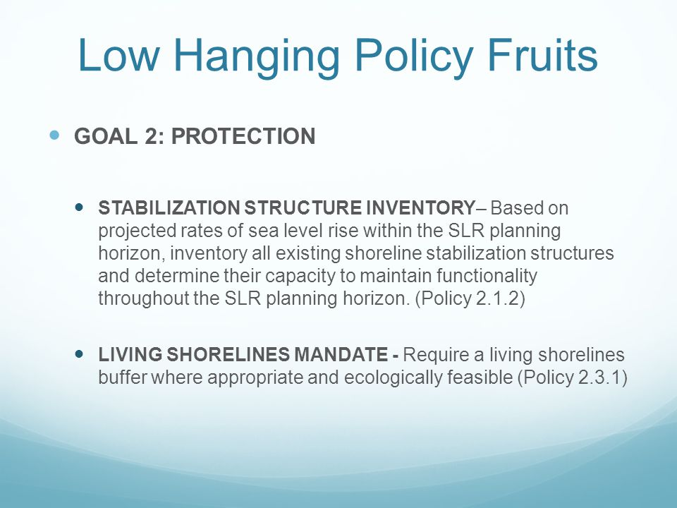 Low Hanging Policy Fruits GOAL 2: PROTECTION STABILIZATION STRUCTURE INVENTORY– Based on projected rates of sea level rise within the SLR planning hor