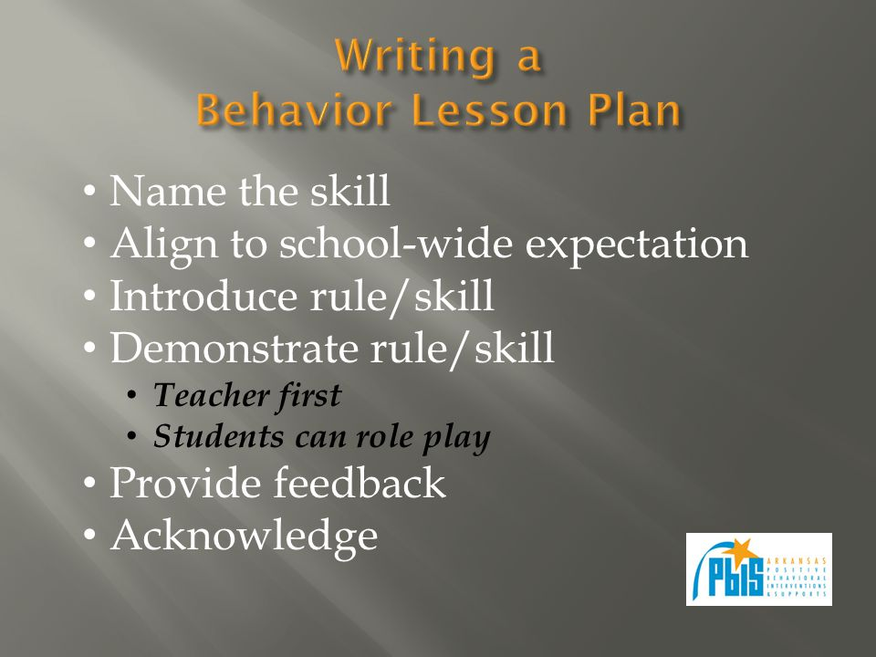 Name the skill Align to school-wide expectation Introduce rule/skill Demonstrate rule/skill Teacher first Students can role play Provide feedback Acknowledge