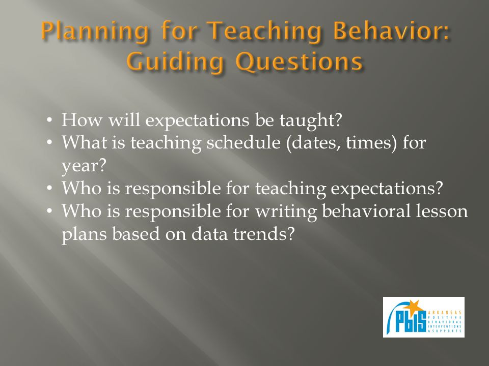 How will expectations be taught. What is teaching schedule (dates, times) for year.