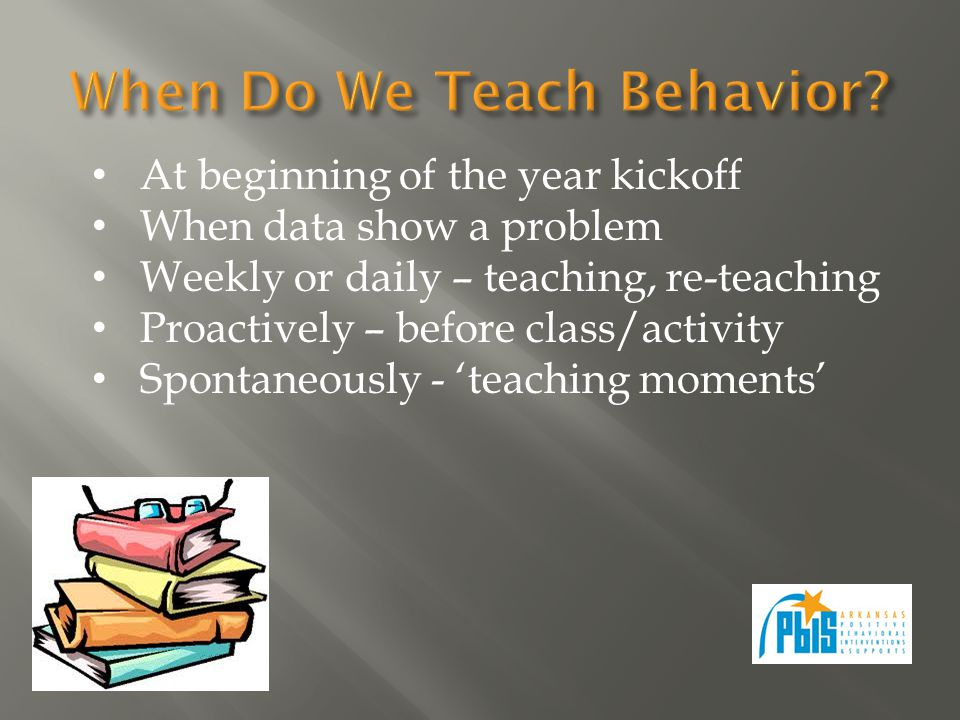 At beginning of the year kickoff When data show a problem Weekly or daily – teaching, re-teaching Proactively – before class/activity Spontaneously - teaching moments