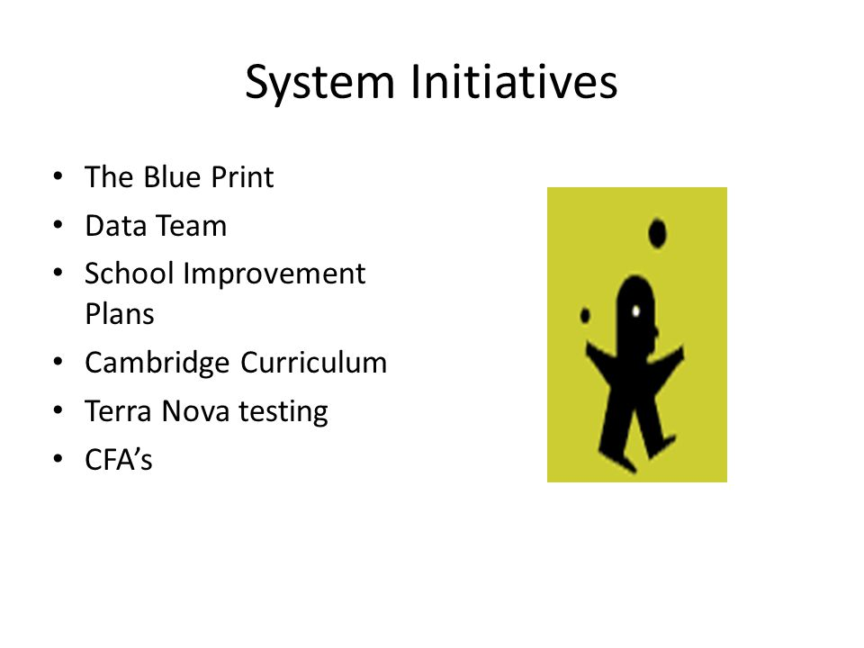 Aligning the initiatives to improve teaching and learning SYSTEM ARTICULATES GOALS SCHOOL DEVELOPES IMPROVEMENT PLANS TO MEET THE GOALS SCHOOL DATA TEAMS COLLECT DATA TO DETERMINE GROWTH OR SUCCESS ON GOALS SYSTEM REPORTS ON OUTCOMES OF GOALS