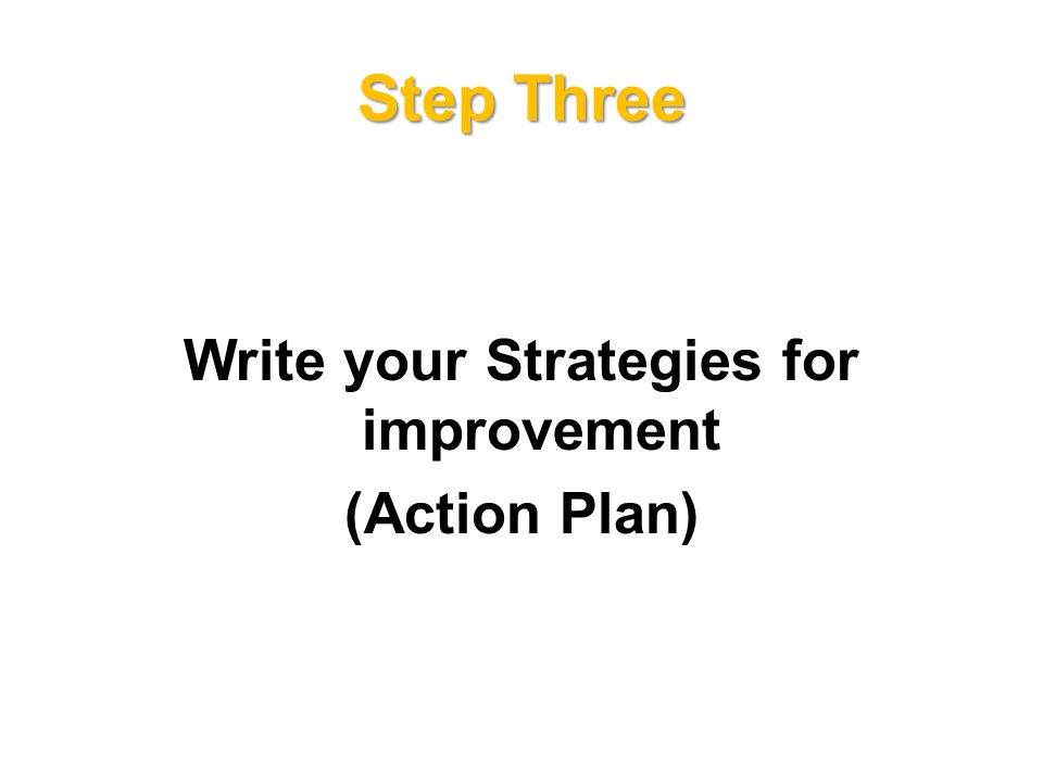 Step Three Write your Strategies for improvement (Action Plan)