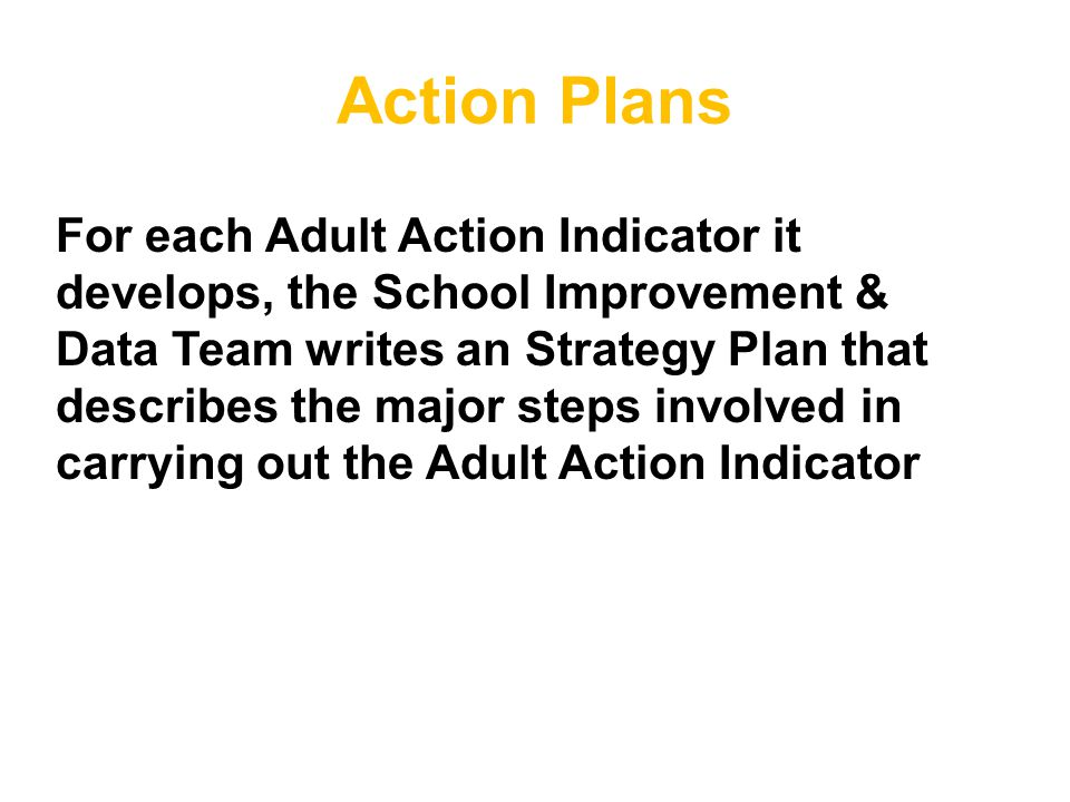 Action Plans For each Adult Action Indicator it develops, the School Improvement & Data Team writes an Strategy Plan that describes the major steps in