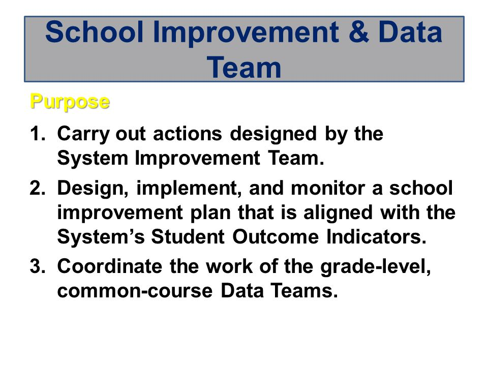 Purpose 1.Carry out actions designed by the System Improvement Team.
