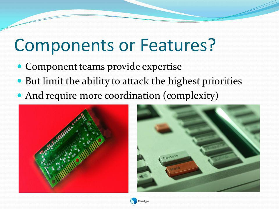 Component teams provide expertise But limit the ability to attack the highest priorities And require more coordination (complexity) Components or Features