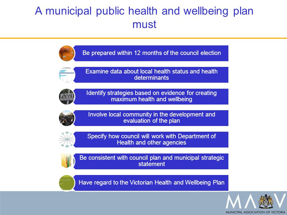 A municipal public health and wellbeing plan must Be prepared within 12 months of the council election Examine data about local health status and health determinants Identify strategies based on evidence for creating maximum health and wellbeing Involve local community in the development and evaluation of the plan Specify how council will work with Department of Health and other agencies Be consistent with council plan and municipal strategic statement Have regard to the Victorian Health and Wellbeing Plan