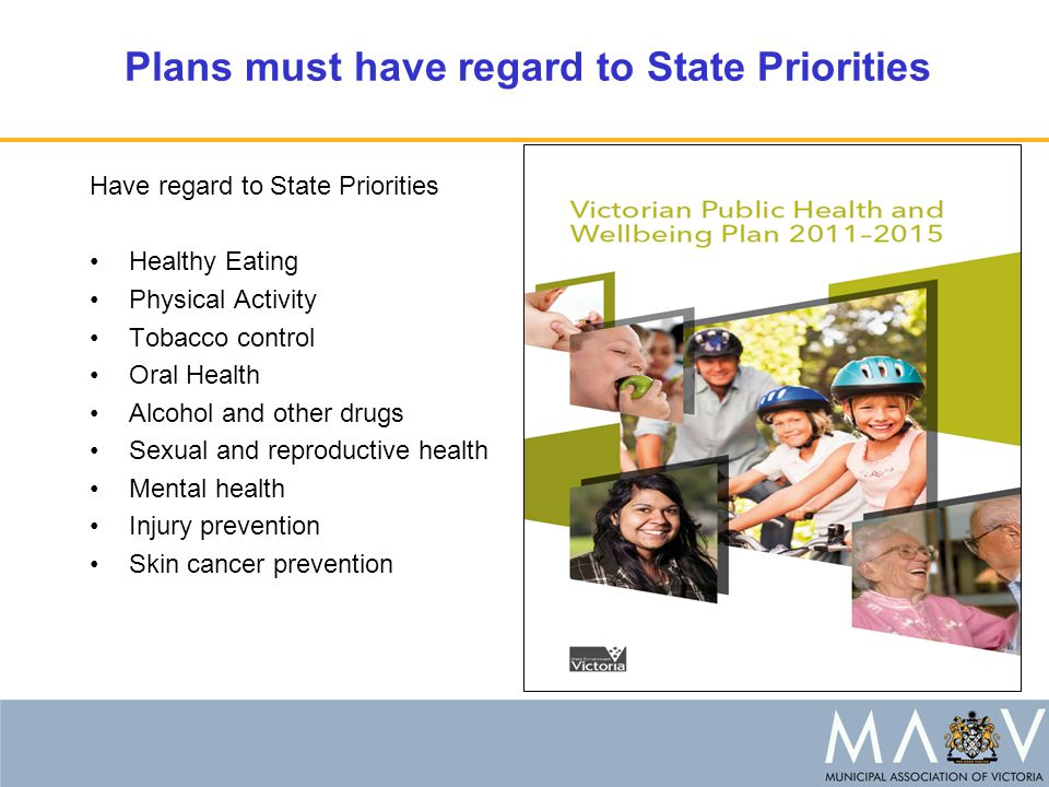 Plans must have regard to State Priorities Have regard to State Priorities Healthy Eating Physical Activity Tobacco control Oral Health Alcohol and other drugs Sexual and reproductive health Mental health Injury prevention Skin cancer prevention
