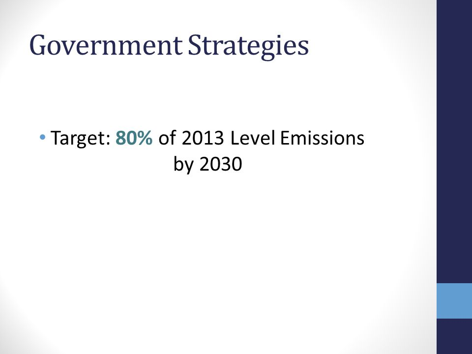 Government Strategies Target: 80% of 2013 Level Emissions by 2030
