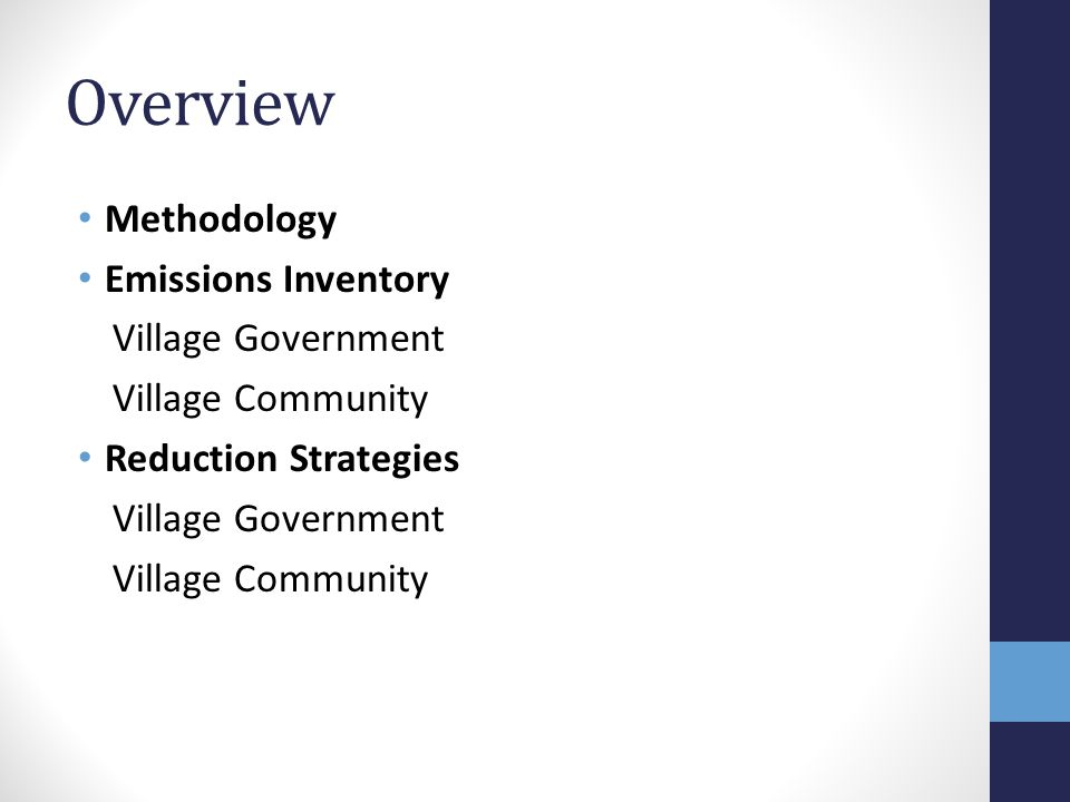Overview Methodology Emissions Inventory Village Government Village Community Reduction Strategies Village Government Village Community