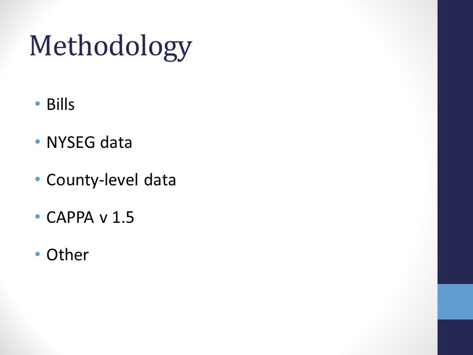 Methodology Bills NYSEG data County-level data CAPPA v 1.5 Other