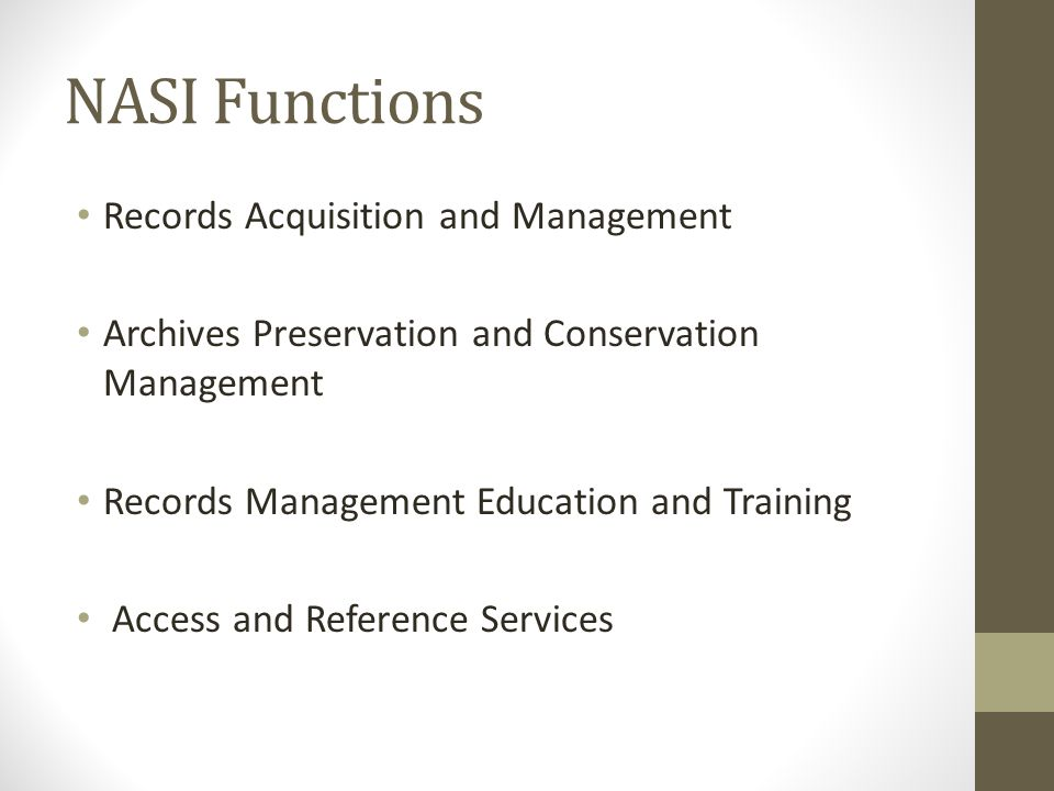 NASI Functions Records Acquisition and Management Archives Preservation and Conservation Management Records Management Education and Training Access and Reference Services