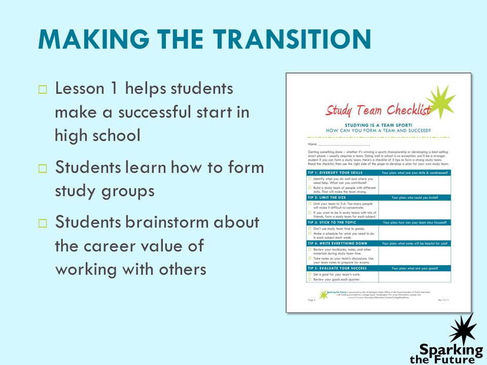 MAKING THE TRANSITION Lesson 1 helps students make a successful start in high school Students learn how to form study groups Students brainstorm about the career value of working with others