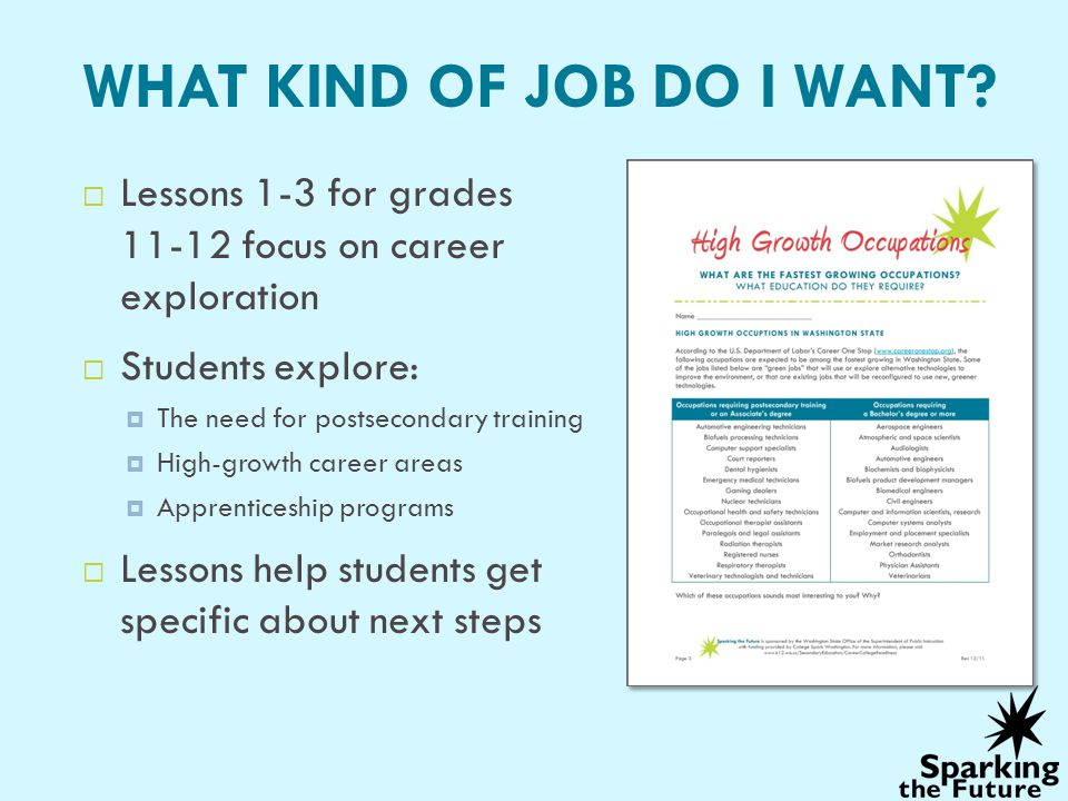 WHAT KIND OF JOB DO I WANT? Lessons 1-3 for grades 11-12 focus on career exploration Students explore: The need for postsecondary training High-growth