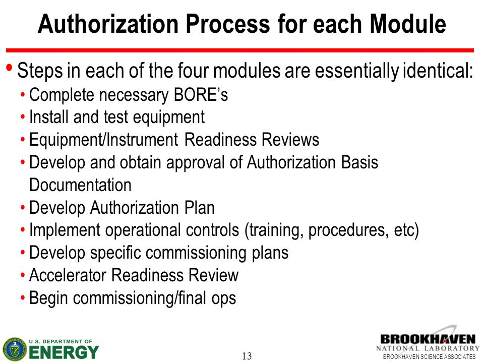 13 BROOKHAVEN SCIENCE ASSOCIATES Authorization Process for each Module Steps in each of the four modules are essentially identical: Complete necessary