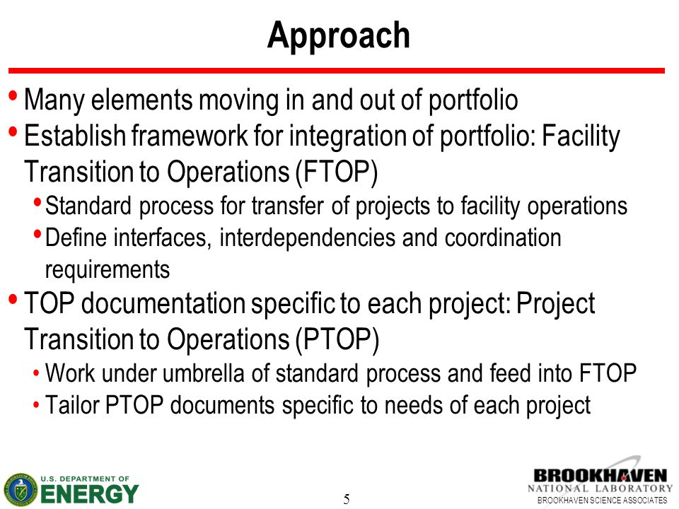 5 BROOKHAVEN SCIENCE ASSOCIATES Approach Many elements moving in and out of portfolio Establish framework for integration of portfolio: Facility Trans
